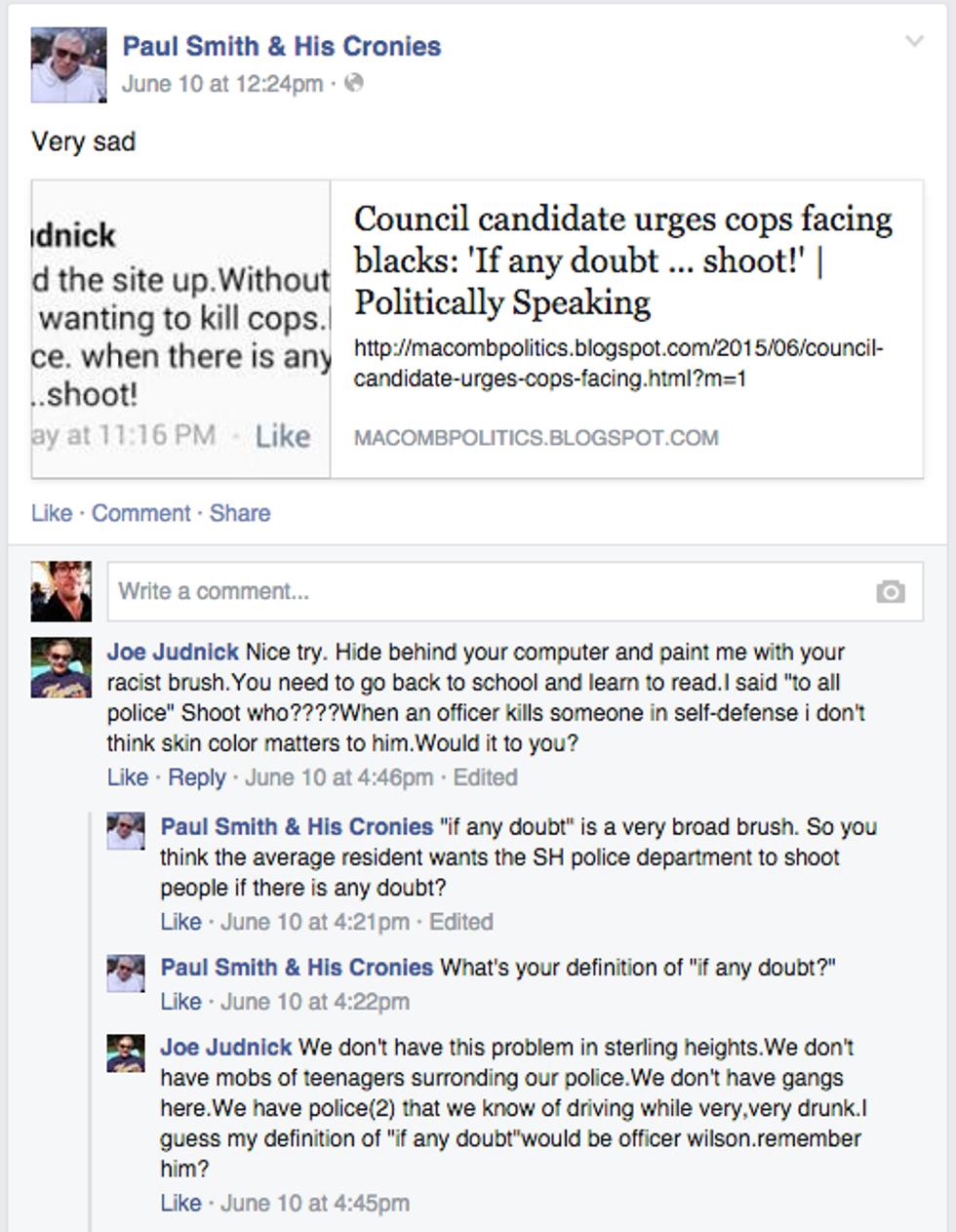 Joe Judnick comments Facebook