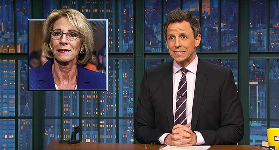 Seth Meyers: 'If you don't know what a tie-breaking vote is — you're probably Betsy DeVos'