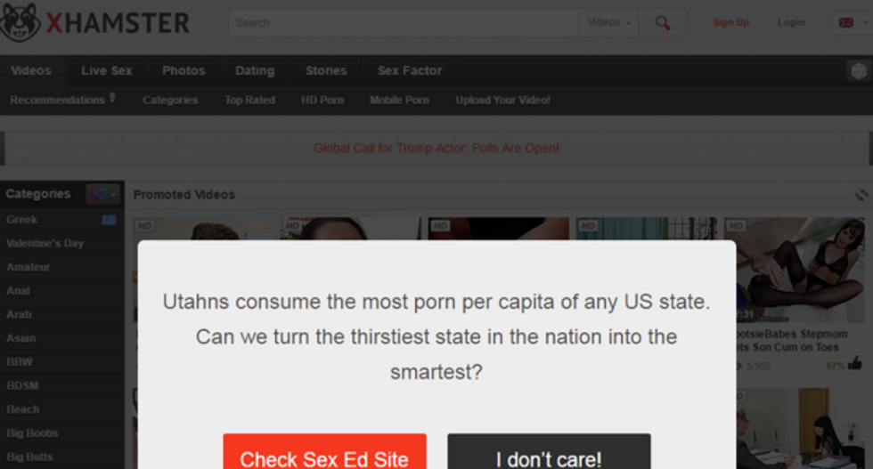 xHamster redirects traffic from Utah to sex ed videos to protest abstinence-only education