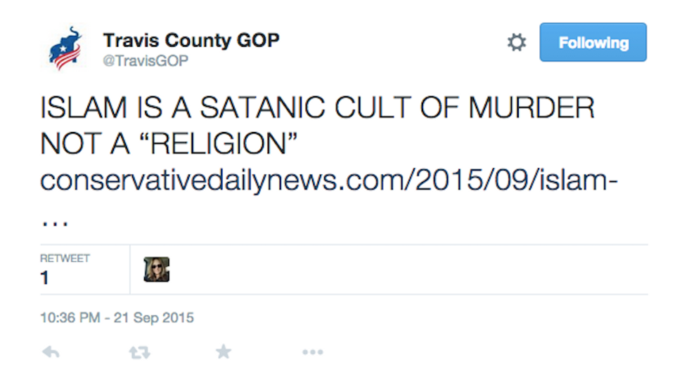 Texas GOP group promotes viciously anti-Muslim blog post: 'Islam is a satanic cult of murder'