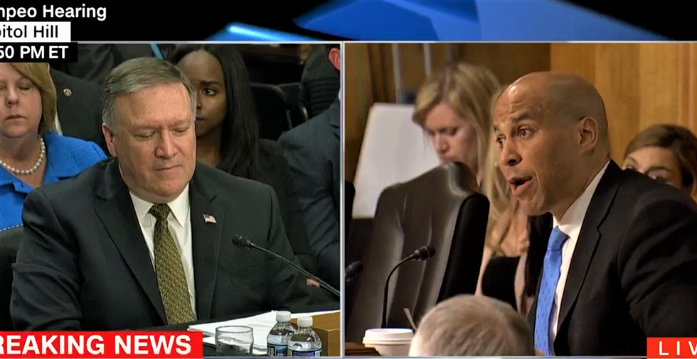 WATCH: Cory Booker hammers Mike Pompeo over his longtime friendship with anti-Muslim bigots
