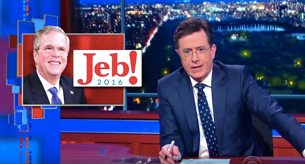 Stephen Colbert mocks 'sleepwalking' Jeb Bush and his sad trombone of a campaign