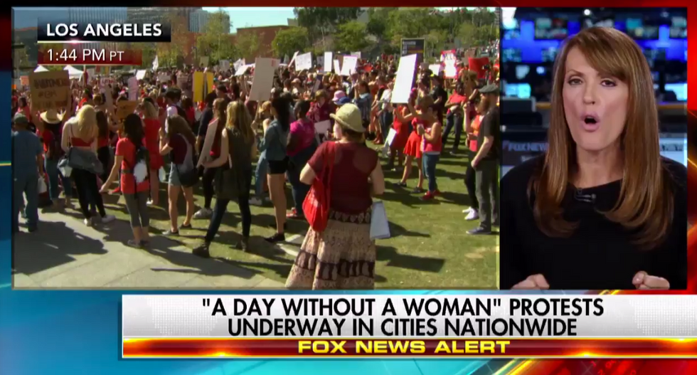 Fox News host shames women's day protestors for 'shirking responsibility' and 'hurting women's empowerment'