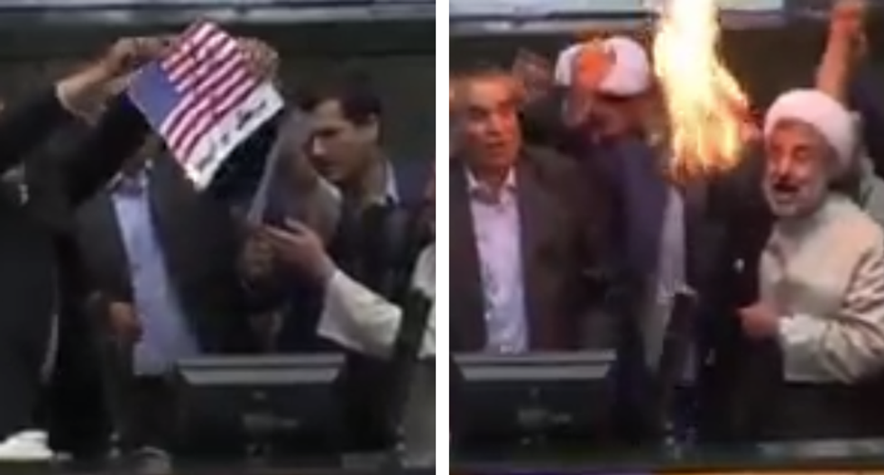 WATCH: Iranian parliament burns US flag and chants 'death to America' after Trump kills nuclear deal