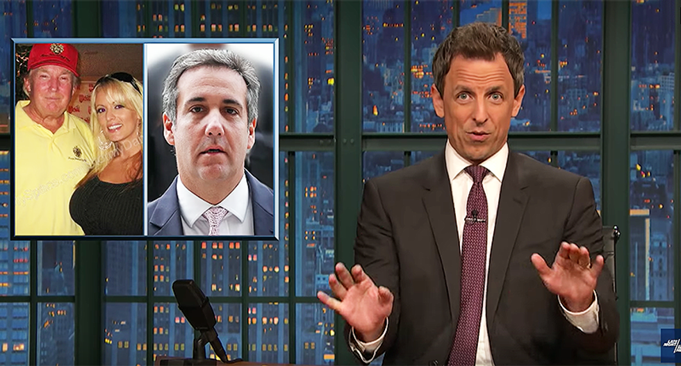 Seth Meyers mocks Cohen for identifying himself in a shady shell corporation instead of using a fake porn name like 'Jerk Diggler'