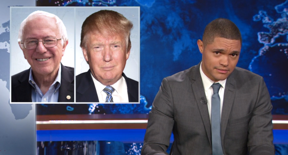 Trevor Noah: Bernie Sanders 'is the yin to Donald Trump's racist yang'