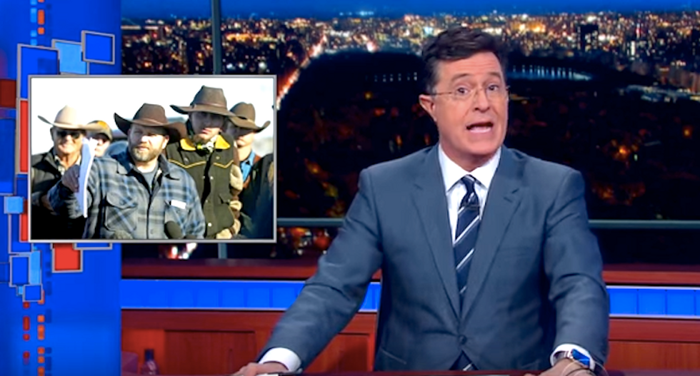 Stephen Colbert mocks throw rug-seeking Oregon militants: Is this a revolution or a bed and breakfast?
