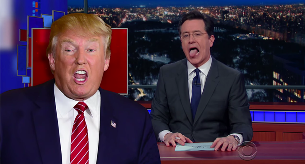 Colbert speaks in tongues to perfectly capture message Trump voters sent on Super Tuesday