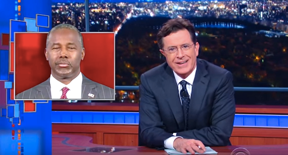 Stephen Colbert mocks Ben Carson's fabulist tales about violent youth to set up his 'conservative redemption'