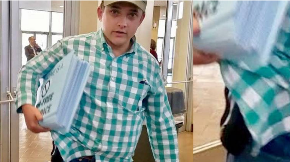 Texas Republican sneaks into Democratic state convention and brandishes handgun when confronted