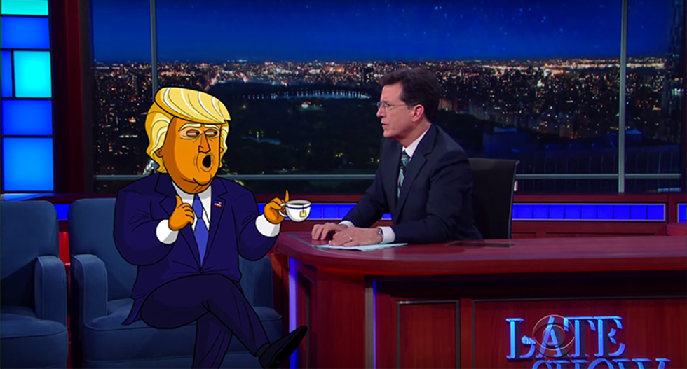 Cartoon Trump admits his awful persona is all 'razzle-dazzle for peasants in the cheap seats'