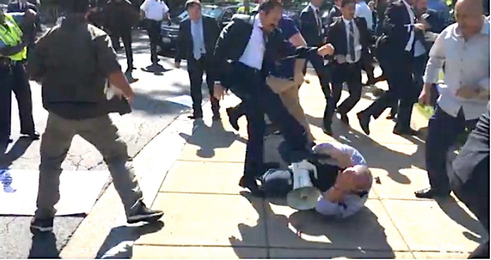 Erdogen claims Trump called to apologize after Turkish bodyguards brutally attacked protestors in DC