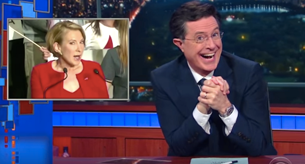 Colbert cringes as Carly Fiorina sings: 'It's like Disney gave the wicked stepmother her own song'