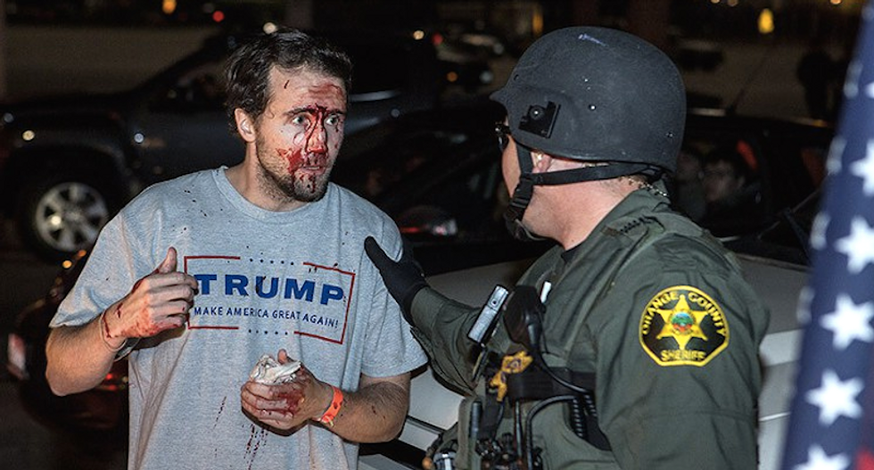 'Trump bro' bloodied at rally is a racist goon, convicted felon -- and serial con man