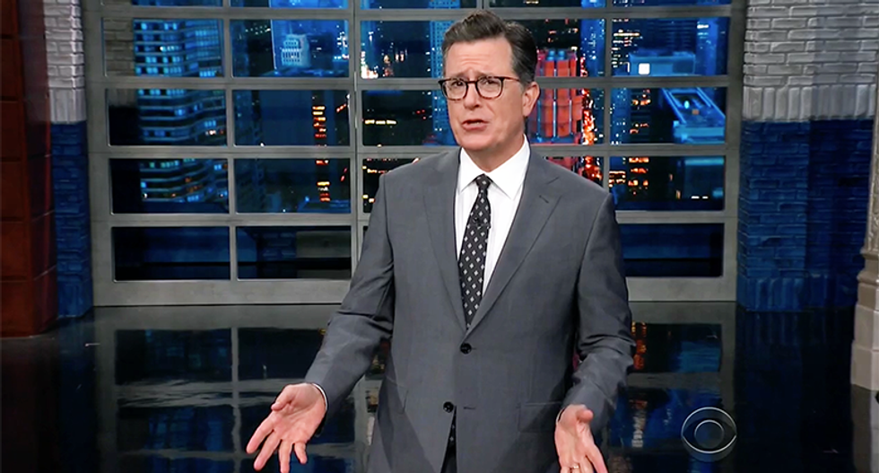 WATCH: Stephen Colbert pricelessly mocks Trump for not knowing how to construct a sentence