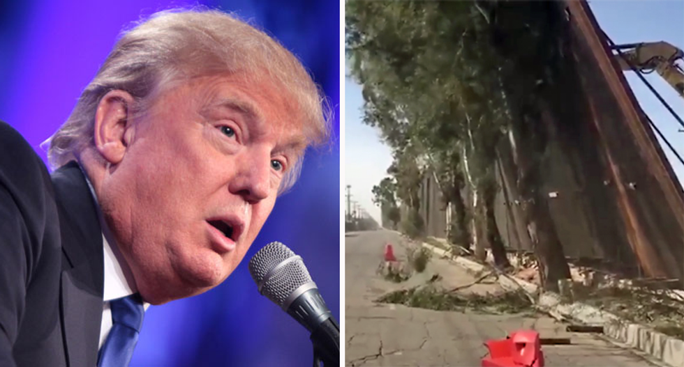 Trump's border wall blew over in the wind — and landed on the Mexican side