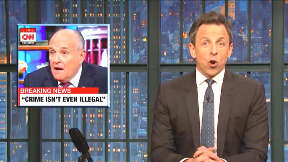 Seth Meyers mocks Rudy Giuliani': He went on CNN and said 'crime isn't illegal'