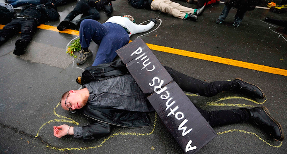 Protesters stage peaceful 'die-in' in downtown St. Louis