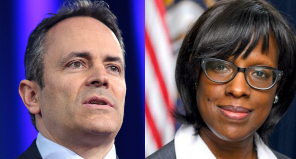 Kentucky governor's lieutenant is in open revolt against him as she overrules his admin's move to fire her top aide