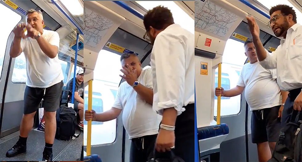 'Leave him alone -- you're pathetic!' Racist gets owned by a Good Samaritan after harassing boy on subway