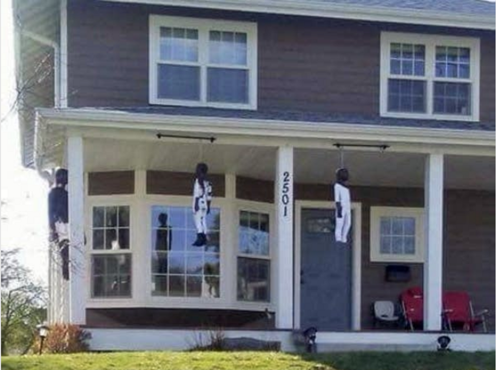 Piñata maker apologizes after facing backlash from his community for hanging black dolls on his porch