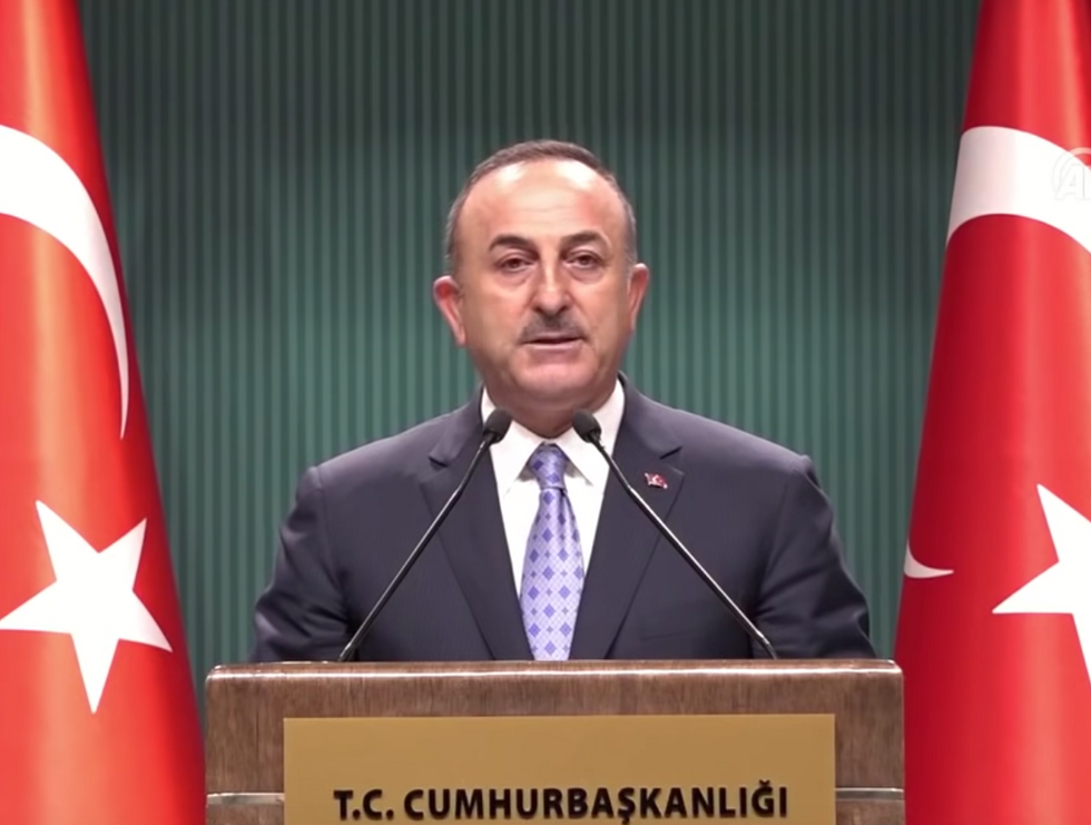 Turkey's foreign minister bursts out laughing as he mocks Trump's erratic tweets