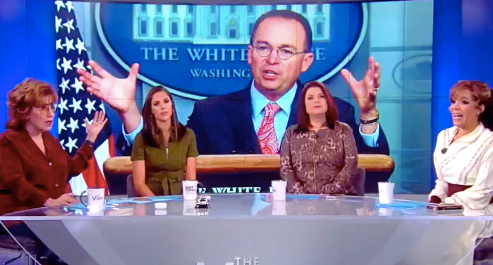 The View's audience boos Mick Mulvaney's confession -- and laughs when he denies video evidence