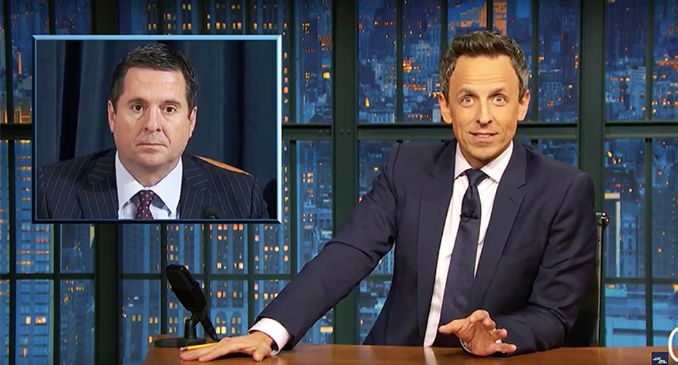 Seth Meyers can't stop laughing at Devin Nunes: 'It's like murdering someone and calling their ghost to testify'