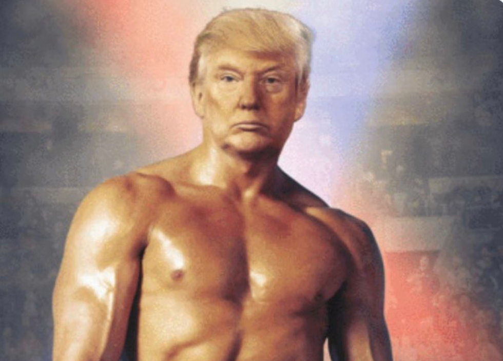 'Not at all normal': Internet stunned as 'delusional' Trump posts image of his head photoshopped onto Rocky Balboa's body