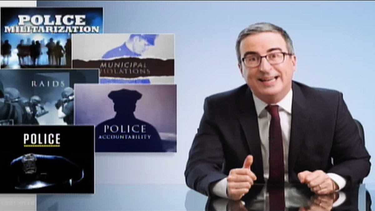 John Oliver gives viewers 7 min of fun news after another week of police brutality — then asks folks to protest