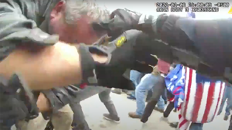 Never before seen videos show Capitol police officer being beaten with a skateboard in Jan. 6 attack
