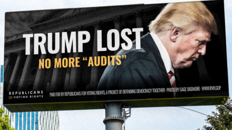 Anti-Trump Republicans troll him with billboards — and back Dems in 2022 races
