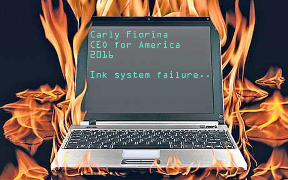Laptop in fire, studio shot