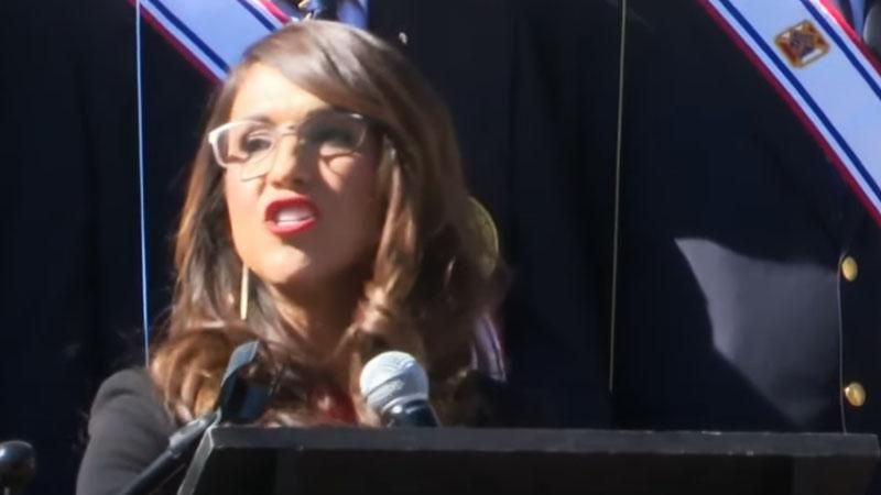 Lauren Boebert faces protesters as she speaks in the shadow of 'embarrassing' Columbus monument