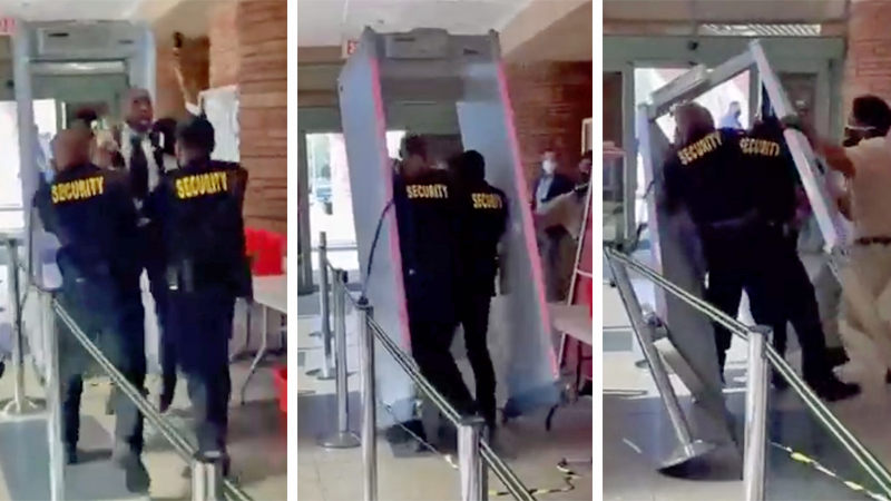 WATCH: GOP Nevada Lt Gov hopeful violently thrown through metal detector at meeting on COVID-19