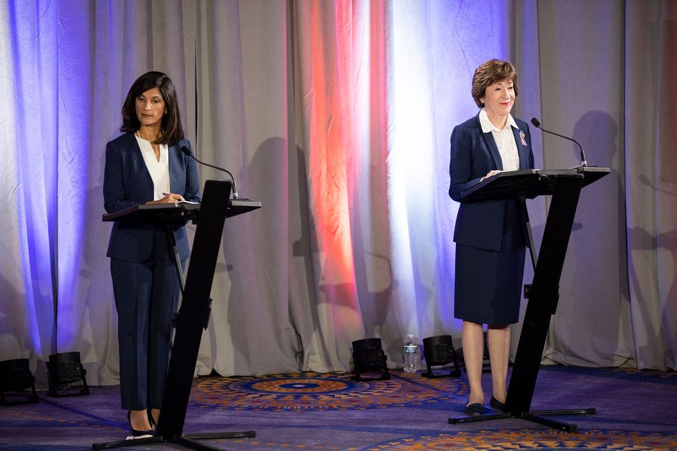 Maine House Speaker Sara Gideon and incumbent Sen. Susan Collins participate in the debate at the Holiday Inn By The Bay alongside fellow candidates Lisa Savage and Max Linn on Friday, September 11, 2020.