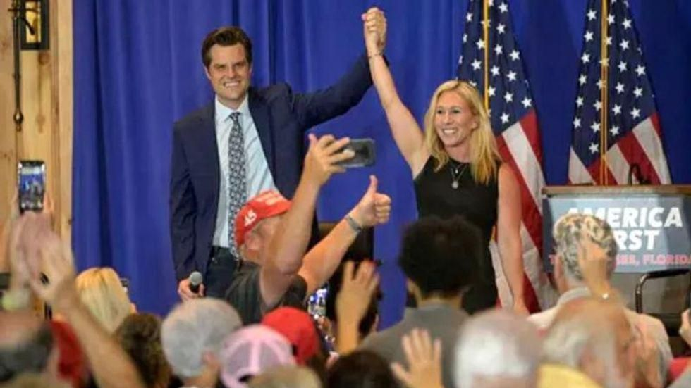 Matt Gaetz and Marjorie Taylor Greene team up to push 'unhinged' Trump-promoted conspiracy theory to DOJ