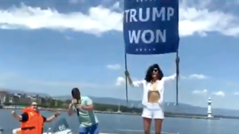WATCH: Osama bin Laden's niece protests Biden-Putin summit with 'Trump won' boat parade
