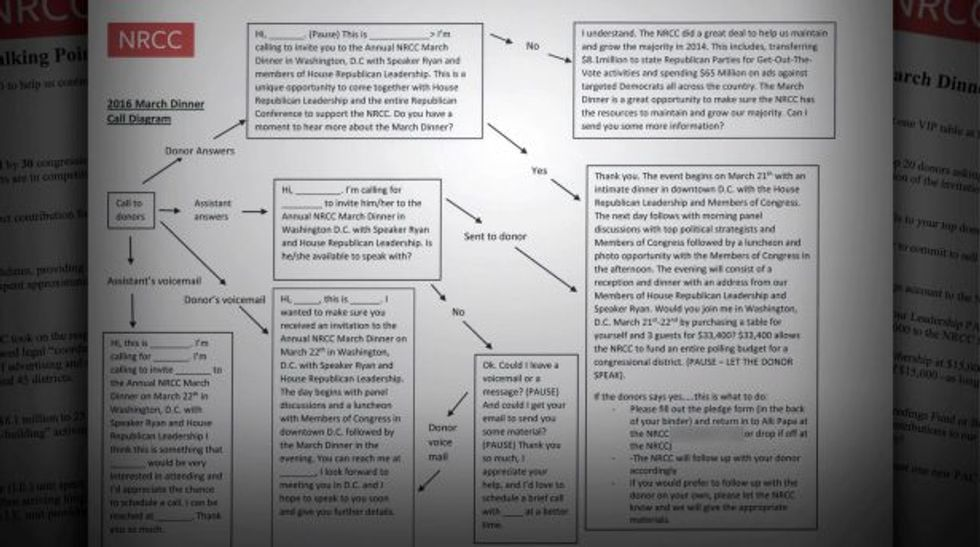 NRDC fundraising script (Screen capture from CBS video)