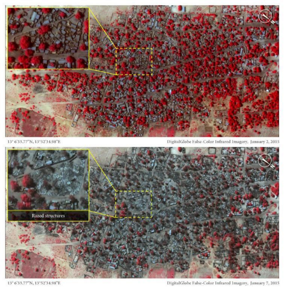 Satellite images from January 2 (top) and January 7, 2015 believed to show the scale of last week's attack on Doron Baga in north-eastern Nigeria by Boko Haram Islamist militants. The red objects show structures and tree cover (AFP)