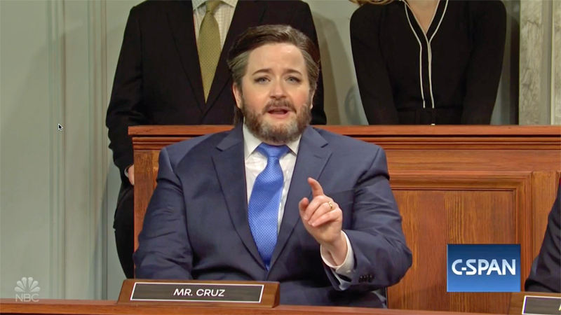 SNL mocks Ted Cruz's unpopularity in Facebook hearing skit