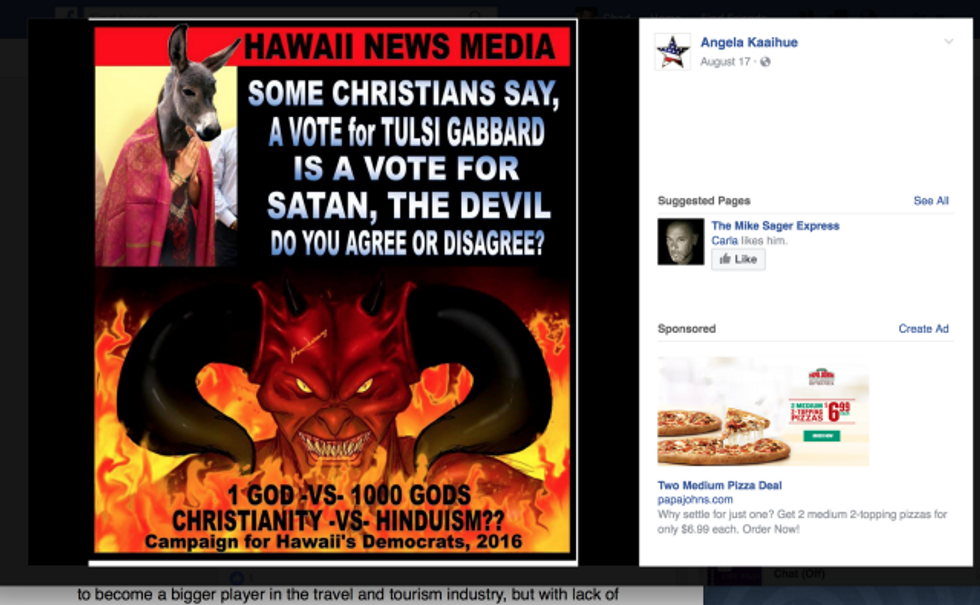 Screen capture of Angela Kaaihue meme on Facebook via Hawaii CB.