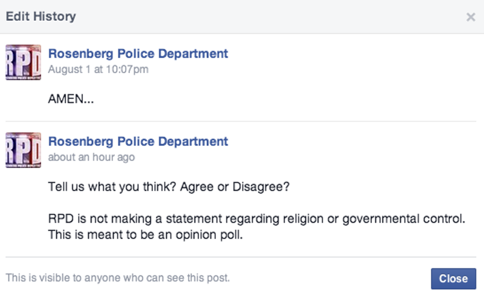 screen capture of rosenberg police department post by hemant mehta 2