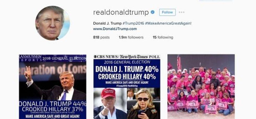 Screenshot of Trump's Instagram account at 12:40 pm. Eastern