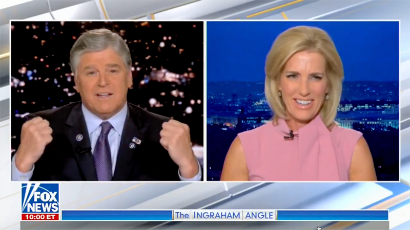 Fox goes off the rails as Hannity rants about his martial arts prowess after ribbing from Laura Ingraham