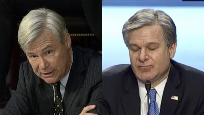 WATCH: Dem senator reads FBI Director Wray the riot act for withholding info and ducking questions