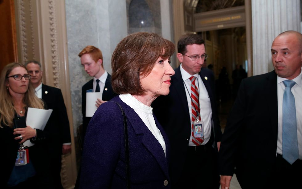 Sen. Susan Collins, R-Maine, departs after the confirmation vote of Supreme Court nominee Brett Kavanaugh, on Capitol Hill, Saturday, Oct. 6, 2018 in Washington. Kavanaugh was confirmed 50-48.