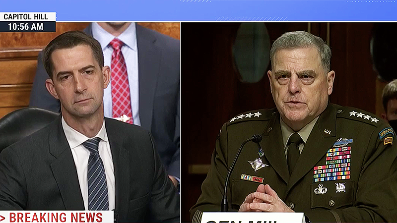 WATCH: GOP's Tom Cotton gets schooled after asking Gen. Milley 'why haven't you resigned'