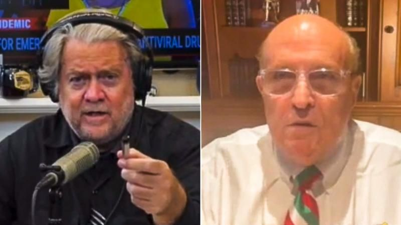 Steve Bannon and Rudy Giuliani laugh about going to prison together while mocking Jan. 6 committee