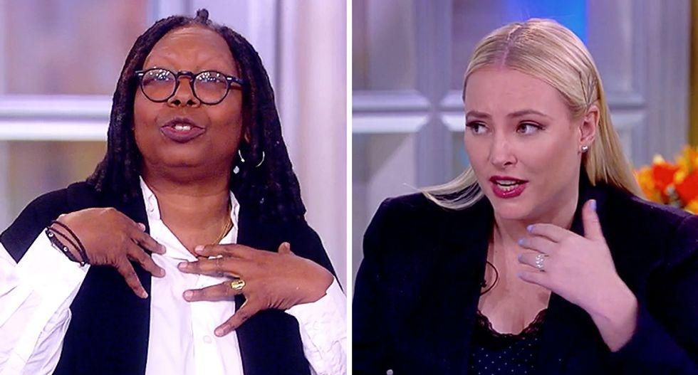 The View erupts as Meghan McCain rudely interrupts Whoopi Goldberg after accusing Biden of being rude